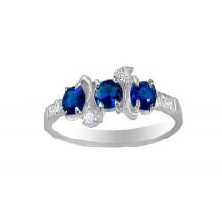 3 Oval Dark Blue & Clear Ring