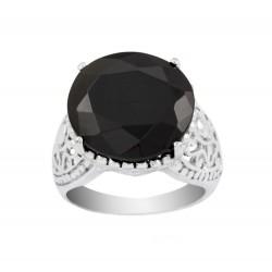 Large Black Oval Czech Crystal Royal Crown Filigree Ring