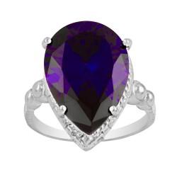 Large Dark Purple Tear Drop Crystal Czech Ring