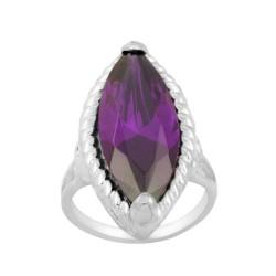 Long Oval Dark Purple Czech Crystal Ring