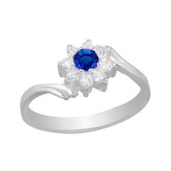Round Dark Blue Crystal CZ Flower Ring