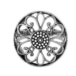 22 mm Round Vintage Filigree Flower Ring