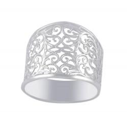 Sterling Silver Victorian Leaf Shape Pattern Filigree Ring