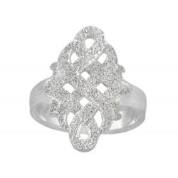 White Glitter Celtic Knot Sterling Silver Ring